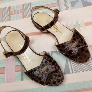 Vtg Ferragamo Reptile Print Leather Sandals